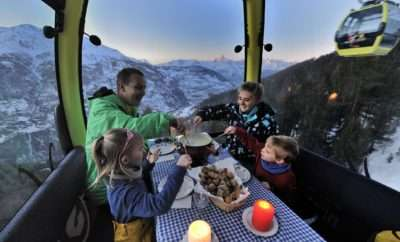Swiss Fondue in a gondola